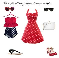 """Plus Size/Curvy Retro Summer Outfit"" by jessicasanderstx ❤ liked on Polyvore featuring Retrò, Moschino, Sole Society, Michael Kors, Ray-Ban, plussizeswimwear and curvesswimwear"