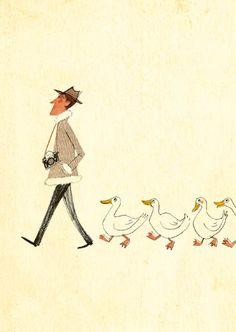man & geese