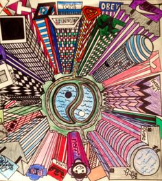 "1 point perspective ""Birds' Eye View"" (7th grade)"