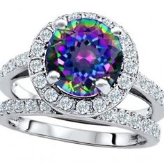 Rainbow Mystic Topaz Engagement Wedding Set - Unusual Engagement Rings Review