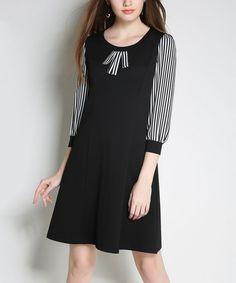 Black Stripe-Sleeve Shift Dress