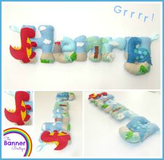 Dinosaur themed personalised name banner by The Banner Boutique