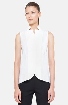 Akris Notch Collar Blouse available at #Nordstrom