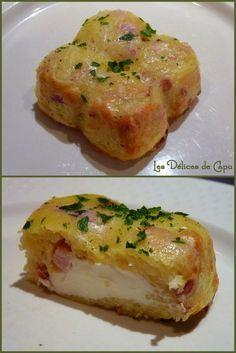 Petit gateau de pomme de terre, lardons et Kiri, un plat gourmand et facile à préparer pour les (grands) enfants