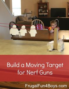 Build a Moving Target for Nerf Guns (use Lego Coloring Sheets as targets)