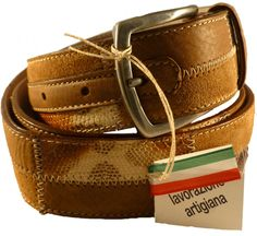 Brown leather belt for men, Florentine leather, with python leather