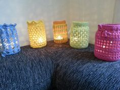 Projekt Teelichtgläser Candle Holders, Candles, Glass, Projects, Candy, Candelabra, Candle, Candle Stands, Pillar Candles