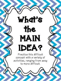 Main idea is a difficult concept for students to grasp. Often, main idea is… Reading Lessons, Reading Resources, Reading Strategies, Reading Skills, Teaching Reading, Reading Comprehension, Reading Groups, Reading Activities, Learning