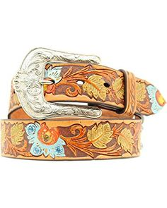 11b446c98a431 Ariat Women s Painted Floral Tooled Western Belt Brown Medium Ariat  http   www.
