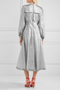 Gucci - Pussy-bow Ruffled Lamé Midi Dress - Silver - IT44