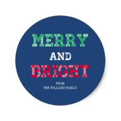 Colorful Merry And Bright Christmas Sticker - holidays diy custom design cyo holiday family