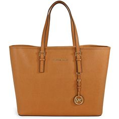 Michael Kors Saffiano Leather Medium Travel Tote - Peanut ($189) ❤ liked on Polyvore featuring bags, handbags, tote bags, purses, bolsas, totes, travel tote, tote hand bags, handbags totes and shoulder strap purses