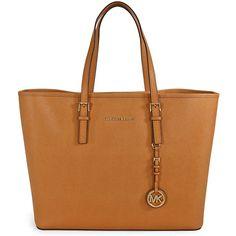 Michael Kors Saffiano Leather Medium Travel Tote - Peanut ($189) ❤ liked on Polyvore featuring bags, handbags, tote bags, purses, accessories, bolsas, travel tote, hand bags, man bag and handbags purses