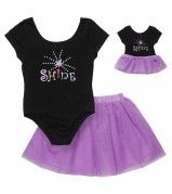 """""""Shine Like a Star"""" Two Piece Leotard and Tutu Set with Doll Outfit"""