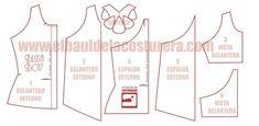 Cómo hacer patrón o molde de costura para blusa sin mangas con soutage en la espalda modelo BC117 Baul Costureras