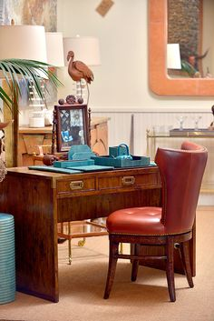 Pull up a chair to this #picturesque #desk vignette at #Houston #Mecox #interiordesign #decor