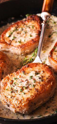 Pork Chops in creamy garlic and wine sauce #pork #dinner