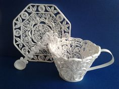Victorian Tea Cup and Saucer quilled - by: Baukje - Heart Stealer Quilling Designs-1st place winner - Jan 26, 2013