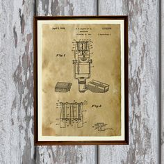 Microphone poster on handmade antique paper. Nice vintage art modern decor for home and office. 8.3 x 11.7 (A4) patent print. Lovely gift for singer.