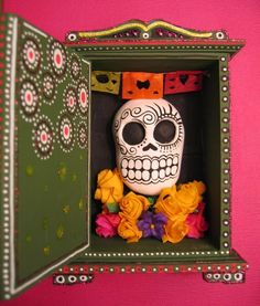 """LIKE THE """"DRESSER"""" WITH TOP AND BOTTOM PAINTED WOOD ENHANCEMENTS..................shrines!"""