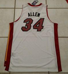 NWT ADIDAS Miami Heat Ray Allen WHITE NBA Jersey Men's 2XL #adidas #MiamiHeat