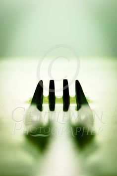 Oily Fork - The silhouette of a fork laying in oil with a green shade to the whole image ideal for a kitchen or living room. Whole Image, Shades Of Green, Large Prints, Art For Sale, Fork, Art Gallery, Photographs, Silhouette, Living Room