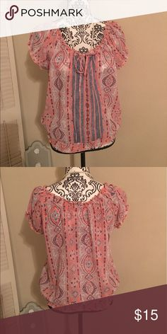 Sheer summer blouse Super cute sheer top. NWOT. Coral and navy. Has elastic around waist and sleeves. Tops Blouses