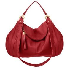 "Onna Ehrlich Red Pebbled Leather ""Rachel"" Hobo Bag Extra Large MSRP $650 NWT #OnnaEhrlich #Hobo"