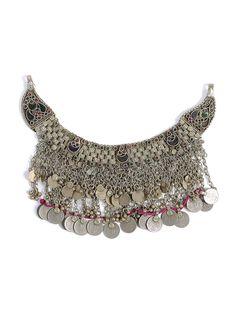 Buy Silver Red Pink Green Vintage Afghani Neckpiece Metal Beads Semi precious…