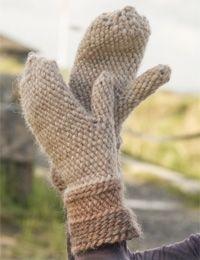 Hæklet hat med fint mønster i 100% uld   Varme vanter i 100% uld   Hækleopskrifter til lune sager