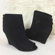 "Rebecca Minkoff black suede covered wedge bootie Rebecca Minkoff black suede covered wedge bootie. Gorgeous peep toe wedges with perforated detail at front half of boot.  Zipper backs for easy on/off. 4"" suede covered heel. Gently loved and worn a couple times but overall wonderful condition. Insoles measure 9 1/4"" long for reference. Boots measure 8"" total height Rebecca Minkoff Shoes Wedges"