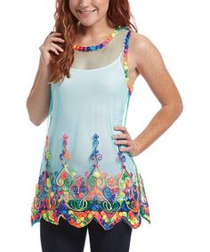 Look at this #zulilyfind! Teal & Rainbow Paisley Mesh Tank by Aqua Blue #zulilyfinds