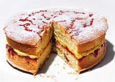 Turn simple store-cupboard ingredients into a scrumptious jam and custard cake, with raspberry jam-swirled sponge and custard-flavoured buttercream Cake Recipes Uk, Cake Recipes From Scratch, Baking Recipes, Dessert Recipes, Food Cakes, Big Cakes, No Bake Treats, No Bake Desserts, Biscuit Pudding
