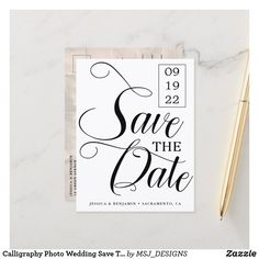 Shop Calligraphy Photo Vow Renewal Save The Date Announcement Postcard created by MSJ_DESIGNS. Wedding Vows, Wedding Photos, Wedding Ideas, Vow Renewal Ceremony, Save The Date Photos, Wedding Save The Dates, Photo Postcards, Elegant Wedding