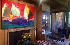 A new painting by Darryl Hughto, referential to his diamonds, sculptures by Reuben Nakian and Michael Steiner, two glass works by Dale Chihuly and a painting by Jules Olitski transformed this Paul H. Kirk mid-century modern home. #DarrylHughto #ReubenNakian #DaleChihuly #MichaelSteiner #JulesOlitski #PaulHKirk #SchulteFineArt