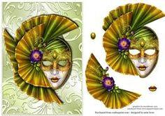 Green Masque on Shimmering Frame + Decoupage