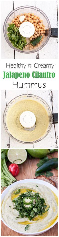 Healthy n' Creamy Jalapeno Cilantro Hummus Recipe | VeganFamilyRecipes.com | #dip #appetizer #food