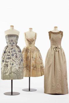 Swarovski Paris Haute Couture Exhibition - dresses from Christian Dior (1952), Balmain (1955), and Balenciaga (1960).