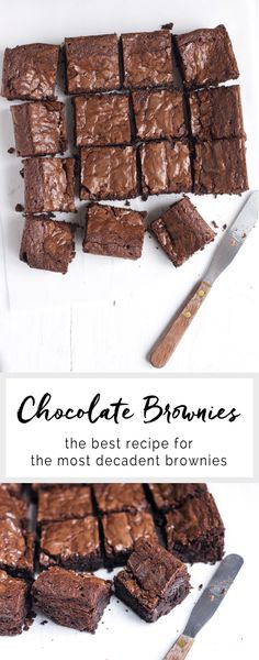 An easy chocolate brownie recipe using real chocolate and rich cocoa powder. This is the only chocolate brownie you will ever need! Best Chocolate, Chocolate Brownies, Chocolate Desserts, Easy Desserts, Delicious Desserts, Dessert Recipes, Yummy Food, Caramel Brownies, Decadent Chocolate