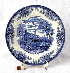 Plate Blue Transferware Queen's Brook Ironstone English Cottage Landscape