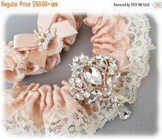 Blush Wedding Garters by Garter Queen on Etsy