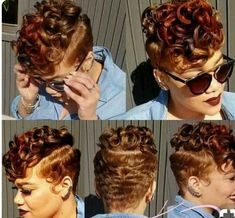 A pixie haircut is a great solution for a contemporary woman on the go. It's convenient, pretty and appropriate for hair of any type. Pixie haircuts for thick h Cute Hairstyles For Short Hair, Black Girls Hairstyles, Curly Hair Styles, Natural Hair Styles, Hairstyles Pictures, Short Sassy Hair, Short Hair Cuts, My Hairstyle, Relaxed Hair