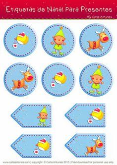 Ilustração de Carla Antunes - Etiquetas de Natal Christmas Gift Tags, Christmas And New Year, Christmas Printables, Party Printables, Creation Deco, Digital Scrapbooking, Creations, Clip Art, Kids Rugs