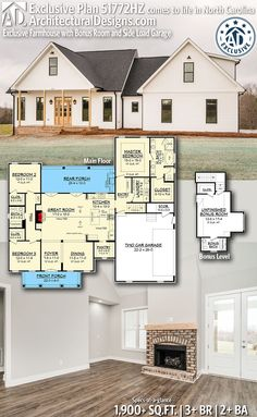 Architectural Designs Exclusive Farmhouse Plan client-built by our friends Tanner Built Homes in North Carolina! New House Plans, Dream House Plans, Small House Plans, 2200 Sq Ft House Plans, Ranch House Plans, 2000 Sq Ft House, Farmhouse Floor Plans, Craftsman Farmhouse, Farmhouse Small