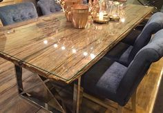 Create the look ultimate in luxury in your dining room with a Luxe Kensignton Reclaimed Wood Dining Table. Railway Sleepers and Stainless Steel. Modish Living Winter Sale