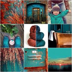 Mood Board Monday - copper and teal. I'm loving this combo for fall! #tanisfiberarts #moodboardmonday
