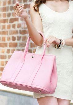 New Popular 37CM Tote Bag Calfskin Leather Pink