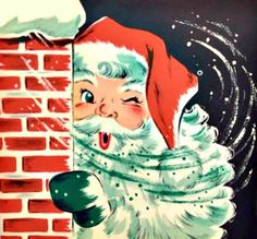 vintage Christmas 1950s mid-century modern Santa winking, peeking out behind the chimney