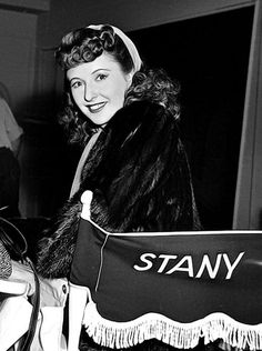 Barbara Stanwyck on the set of 'Flesh and Fantasy' (1943, Julien Duvivier).