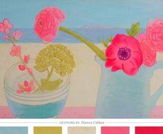 Blue, Pink, Beige Palette